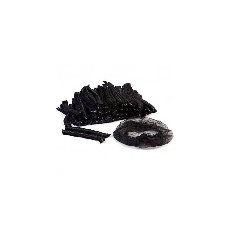 [lot de 100] Charlotte Jetable Noir : Protection Tête-Cheveux (Médical, Industrie, Agro-Alimentaire, Réalité Virtuelle)