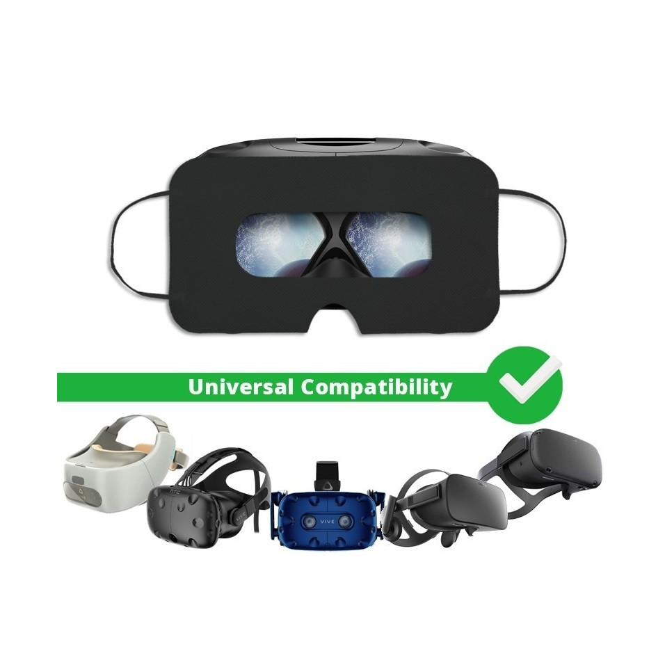 [Batch of 100] Disposable VR Hygiene Face Mask/Eye mask, Black, Universal - SuperMask