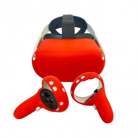 Silicone protection handle and helmet for Oculus Quest 2 (red)