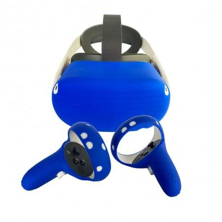Protection silicone manette et casque pour Oculus Quest 2 (bleu)