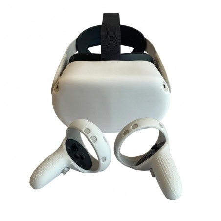 Protection silicone manette et casque pour Oculus Quest 2 (blanc)