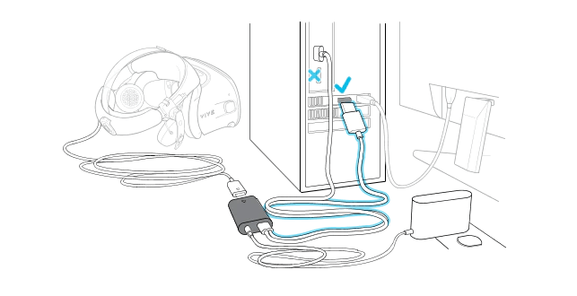 Connecting the converter to the VIVE headset